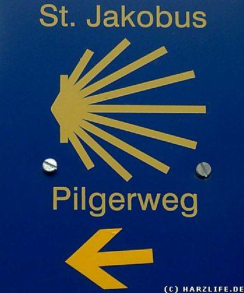 Wegweiser Jakobsweg im Harz